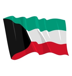 Political waving flag of kuwait vector