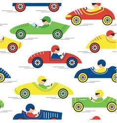 Race retro sport car seamless pattern vector