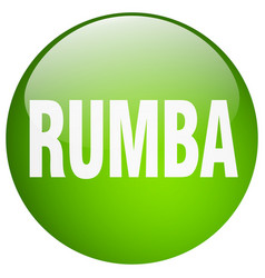 Rumba green round gel isolated push button vector
