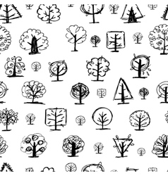 Seamless pattern doodle trees for your design vector image