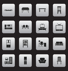 Set of 16 editable furniture icons includes vector