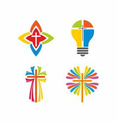 Set of christian logos vector