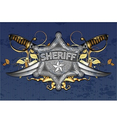 sheriff star with sabers vector image vector image