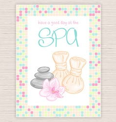 Spa party invitation with colorful mosaic frame vector