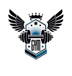 Sport logo for weightlifting gym and fitness club vector