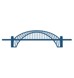 Sydney harbour bridge flat blue icon isolated on vector