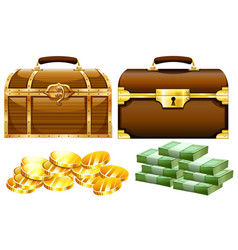 Two designs of chests with gold and money vector