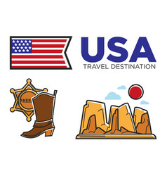 Usa america culture and amercian travel toursit vector