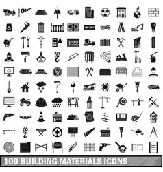 100 building materials icons set simple style vector