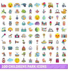 100 childrens park icons set cartoon style vector