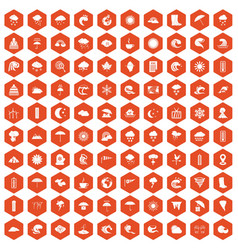 100 weather icons hexagon orange vector