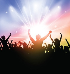 Party crowd on a starburst background vector