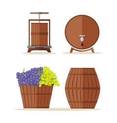 Wine barrels set basket with grape vector