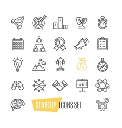 Start up motivation brainstorming icon set vector