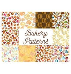 Bakery and patisserie desserts patterns vector