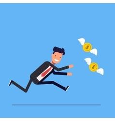 Businessman or manager runs after money flies away vector