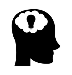 Person head brain think silhouette vector