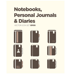 Notebooks personal journals and diaries icon set vector