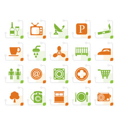 Stylized hotel and motel objects icons vector