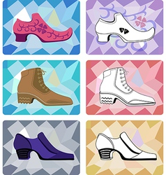 Six stylish man shoe vector