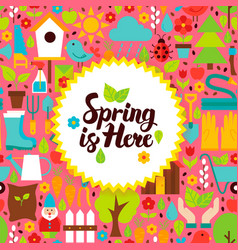 Flat spring is here postcard vector