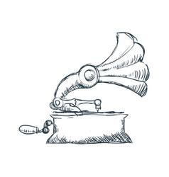gramophone vintage draw vector image