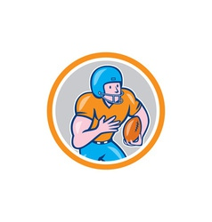 American football receiver running ball circle vector