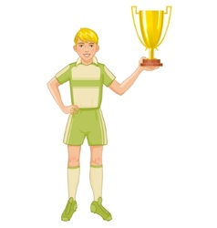 Young footballer in uniform with winner cup vector