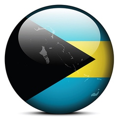 Map on flag button of commonwealth of the bahamas vector