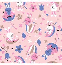 Cute love bunnies pattern vector