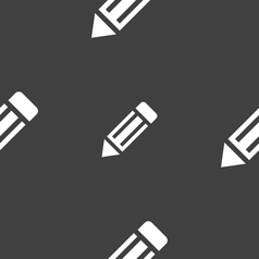 Pencil icon sign seamless pattern on a gray vector