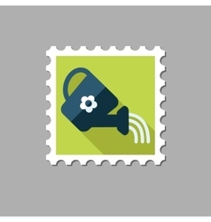 Watering can flat stamp with long shadow vector