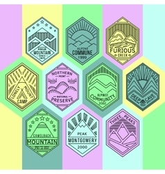 Mountain badges linear 1mono vector