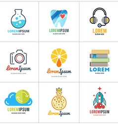 Set of coloful logo templates lab dentist support vector
