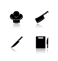 Kitchenware drop shadow black icons set vector