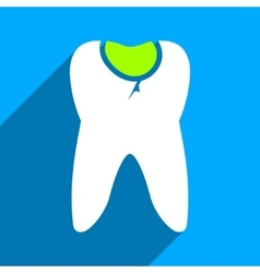 Tooth caries flat square icon with long shadow vector