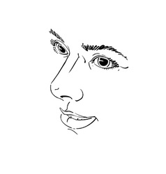 Drawing of pensive woman thinking about something vector