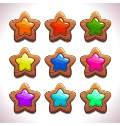 Cartoon wooden stars vector