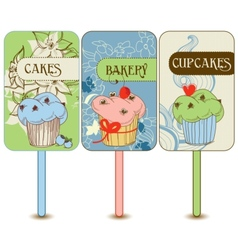 Retro cupcakes labels vector image