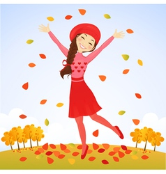 Jumping autumn girl vector image