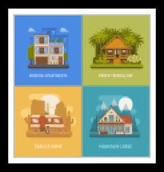 Homes and houses dwelling set vector