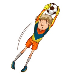 A coloured drawing of a male soccer player vector image