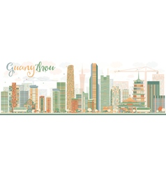 Abstract guangzhou skyline with color buildings vector