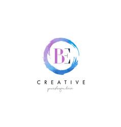 Be letter logo circular purple splash brush vector