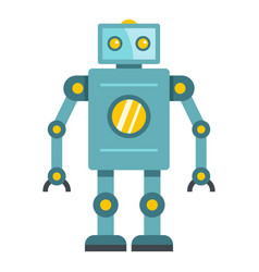 Blue retro robot icon isolated vector