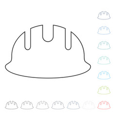 Builder hardhat line icon vector