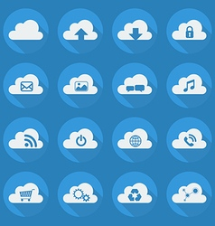 Cloud computing flat icon set vector