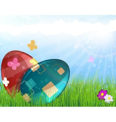 Easter eggs on meadow vector image vector image