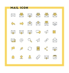 Email flat design icon set envelope link vector