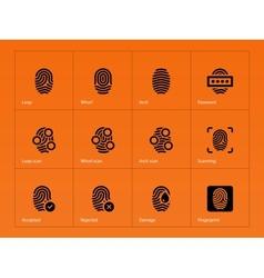 Fingerprint icons on orange background vector